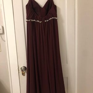 David's Bridal Dresses - TWIST BODICE CHIFFON DRESS WITH BEADED BELT